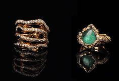 Lucifer vir Honestus 18k pariaba tourmaline and diamonds rings only at persimmon
