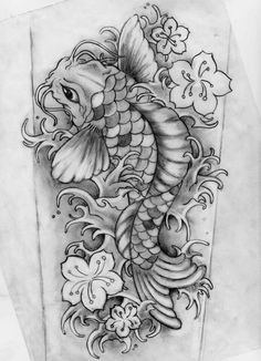 Black And Grey Koi With Flowers Tattoo Design By KimElizondo Tattoos And Body Art koi tattoo design Koi Tattoo Design, Tattoo Designs, Koi Fish Drawing, Koi Fish Tattoo, Body Art Tattoos, Sleeve Tattoos, Tatoos, Western Tattoos, Yakuza Tattoo