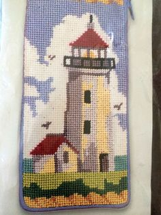 Lighthouse Preassembled Needlepoint Stitch Zip Cell Eyeglass Case,   SZ326 #AlicePeterson #Computerprinted