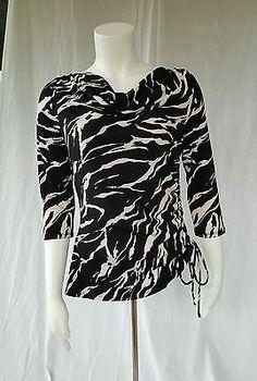 Dana Buchman XS Zebra Animal Print Blouse Black Beige 3/4 Sleeve Side Ruching