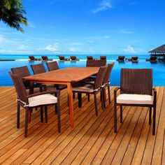International Home Miami Amazonia Whitewater 9 Piece Dining Set with Cushions