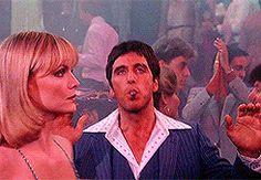 Michelle Pfeiffer & Al Pacino in 'Scarface' Film Scarface, Scarface Quotes, Scarface Poster, Al Pacino, Oliver Stone, Michelle Pfeiffer, Dance Gif, Elvira Hancock, Vintage Movies