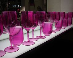 Magenta purple assorted glasses.