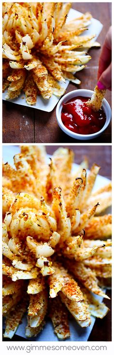 Baked Blooming Onion -- it's crispy, it's flavorful, and it's WAY healthier than the fried restaurant version! gimmesomeoven.com #appetizer