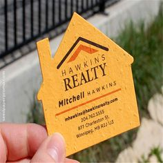 This seed paper house shape makes a unique business card for realtors, builders… Realtor Business Cards, Real Estate Business Cards, Unique Business Cards, Business Card Design, Creative Business, Letterpress Business Cards, Business Branding, Identity Branding, Visual Identity