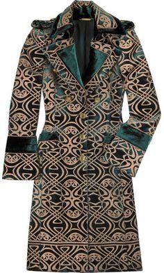 ShopStyle: Roberto Cavalli Brocade-print military coat