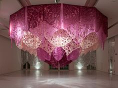 Textile installations by Argentinian artist, Manuel Ameztoy for Faena Arts Center.