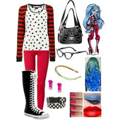Inspired by Ghoulia Yelps from Monster High || Fashion from Polyvore.