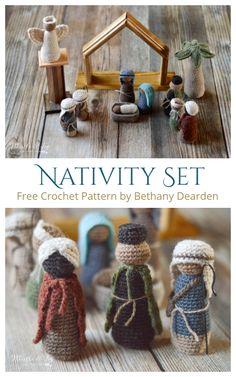 Amigurumi Nativity Set Free Crochet Patterns Crochet Christmas Decorations, Christmas Crochet Patterns, Holiday Crochet, Christmas Crafts, Christmas Nativity Set, Nativity Crafts, Nativity Sets, Crochet Round, Free Crochet
