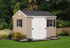 This cute little 8x10 A-Frame shed is perfect for small spaces. Vinyl Storage Sheds, Vinyl Sheds, Shed Storage, Built In Storage, Siding Options, Build Your Own Shed, Run In Shed, Outdoor Sheds, Building A Shed