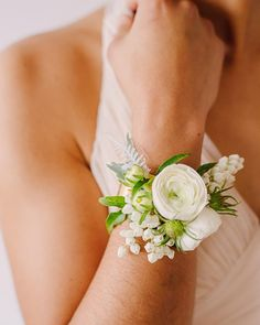 Wrist corsage of white ranunculus on a gold cuff. Mother Of Bride Corsage, Wrist Corsage Wedding, Prom Corsage And Boutonniere, Bridesmaid Corsage, Wedding Bouquets, Corsages For Homecoming, Boutonnieres, Mother Of Bride Flowers, Bracelet Corsage