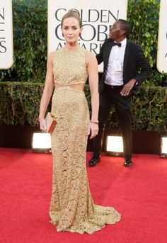 Emily Blunt in Michael Kors.  Golden Globes 2013. Emily Blunt was the requisite golden girl in a lace column gown by Kors.