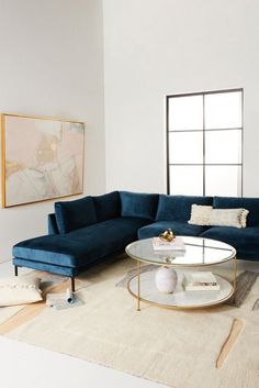 This Apartment Has the Most Comfortable Couch Blue Couch Living Room, Living Room Sectional, New Living Room, Home And Living, Living Room Furniture, Modern Sectional, Comfortable Living Rooms, Comfortable Couch, Living Room Inspiration