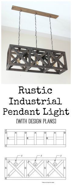 Pendant Light Rustic Industrial Pendant Light - free design plans for this beautiful DIY light fixture!Rustic Industrial Pendant Light - free design plans for this beautiful DIY light fixture! Rustic Light Fixtures, Rustic Lighting, Home Lighting, Lighting Ideas, Rustic Kitchen Lighting, Bar Lighting, Modern Lighting, Diy Pendant Light, Industrial Pendant Lights