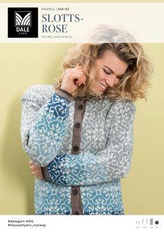 "Knitted Slottsrose"" knitted jacket - design by Bente Presterud for Dale Garn / House of Yarn Fair Isle Knitting Patterns, Knitting Designs, Knit Patterns, Knitting Tutorials, Stitch Patterns, Knitting Socks, Knitting Stitches, Free Knitting, Sweater Design"