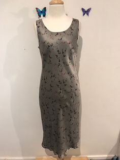 Country Road Silk Grey Floral Sleeveless Dress 12