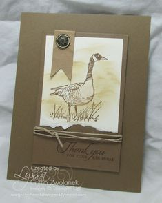 handmade card ... kraft ... luv the way the design shows off the image yet has adornments ... Wetlands ... Canadian Goose ... Stampin' Up!