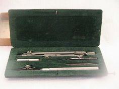 Vintage Draftsman Set/ Steel Compass by AntiqueDiscoveries on Etsy