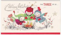 Vintage Greeting Card Christmas Mr & Mrs Snowman Family Child The Three of Us