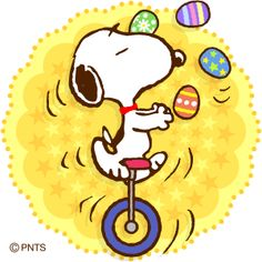 Snoopy juggling Easter eggs