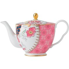 Wedgwood Harlequin Butterfly Bloom Teapot ($96) ❤ liked on Polyvore featuring home, kitchen & dining, teapots, home & furniture, ceramic teapots, wedgwood teapot, harlequin teapot, floral teapot and whimsical teapots