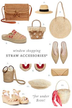 update your wardrobe for spring with the season's must-have accessory: all things straw! the perfect warm-weather bags, shoes and more, all for under $100! #under100 #affordable #style #fashion #whattowear #straw