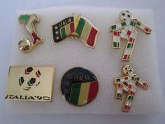 b3 lotto 6 spille ITALIA 1990 FIFA WORLD CUP football calcio pins lot 90  | eBay