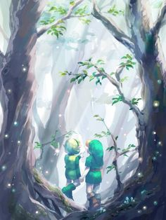 Link and Saria. Those times when the hero had nothing to worry about. Zelda Ocarina of Time