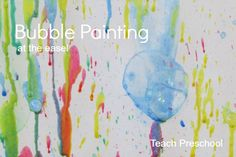 add color (we used liquid watercolor) to your bubbles. Add a few bubble wands and you are ready to bubble paint…