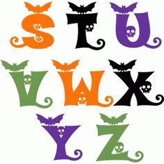 Silhouette Design Store - View Design halloween alphabet s-z Halloween Letters, Halloween Vinyl, Halloween Silhouettes, Halloween Scrapbook, Halloween Items, Halloween Signs, Holidays Halloween, Halloween Crafts, Silhouette Cameo