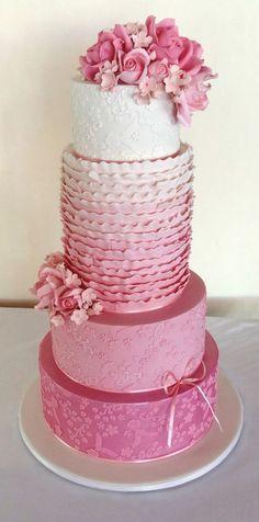 Pretty in Pink Wedding Cake