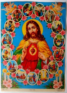 Bollywood Easter:  Jesus poster art from India.  (1970s).  It was common for religious posters of this type to have a calendar and company name.