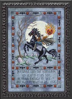 Sleepy Hollow Counted Cross Stitch Pattern  #halloween #crossstitch #horseman #pattern