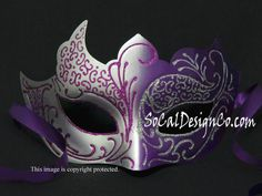 Beautiful New Purple & Silver Venetian Eye Mask for Women Masquerade Party Dress Carnival Fancy Ball Halloween Mardi Gras Prom Event