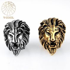 VCOOL Size 7-13 Gold Black Silver 316L Stainless Steel Rings Engraved Retro Men Ring Vintage Carved Roaring Lion Head King Ring