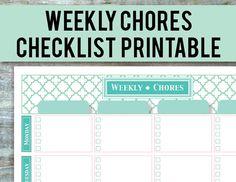 Chore Chart Printable - EDITABLE PDF, Weekly Chore List for Multiple Kids