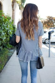 peplum top: made by me (fabric c/o online fabric store) —buy an almost identical one here for just over $30! similar leather jacket here and here gap jeans (similar) dolce vita wedges similar bag PHOTOGRAPHY BY SARA WALK For some reason I cannot get enough of gingham this season. It's such a classic print and …