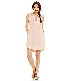 Chelsea and Violet Lace Up Linen Dress #Dillards