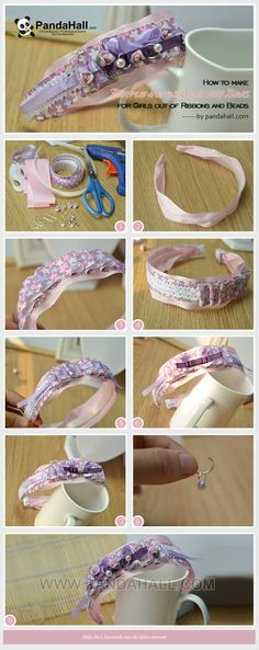 How to Make Purple Headbands with Bows for Girls out of Ribbons and Beads