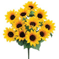 "Faux Sunflower Bush in Yellow<br>4"" Blooms x 19"" Tall"