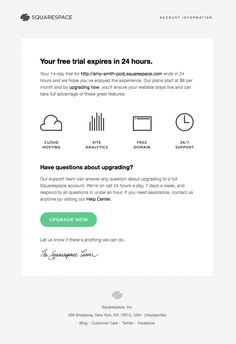 Retention Email Design from Squarespace