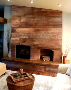 fireplace surround recycled from old barnwood