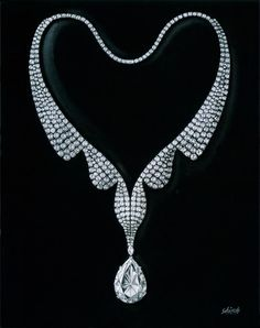 Harry Winston Wave necklace. Extraordinary pear-shaped diamond, 60.14 carats, 534 round brilliant diamonds, total weight 60.18 carats; platinum setting. Sign me up.