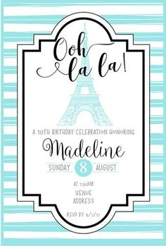 Paris theme Birthday Party invitation printable | Pinterest ...
