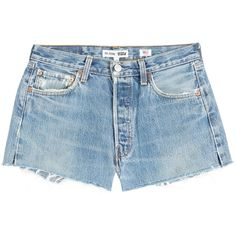 RE/DONE Cut-Off Denim Shorts (€179) ❤ liked on Polyvore featuring shorts, bottoms, denim shorts, pants, blue, ripped shorts, blue jean shorts, cutoff shorts and distressed jean shorts