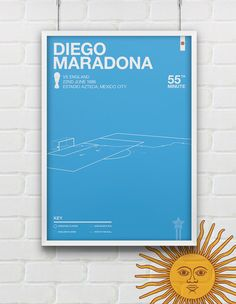Prints of some of the most famous goals in soccer.