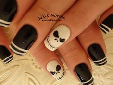 jack skellington by - Nail Art Gallery nailartgallery. by Nails. Cute Acrylic Nail Designs, Cute Acrylic Nails, Nail Art Designs, Art Nails, Halloween Nail Designs, Halloween Nail Art, Halloween Prop, Halloween Witches, Happy Halloween