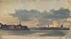The Athenaeum - Sketch of Coastal Town, Early Evening (Holland) (Sir George Clausen, R.A., R.W.S., R.I. - )