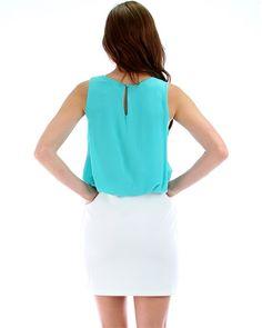 e126046c5dcd Dress two tone key hole skirt Midi White and Mint Midi Skirt