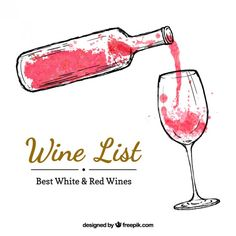 Hand painted wine bottle and a wineglass Free Vector